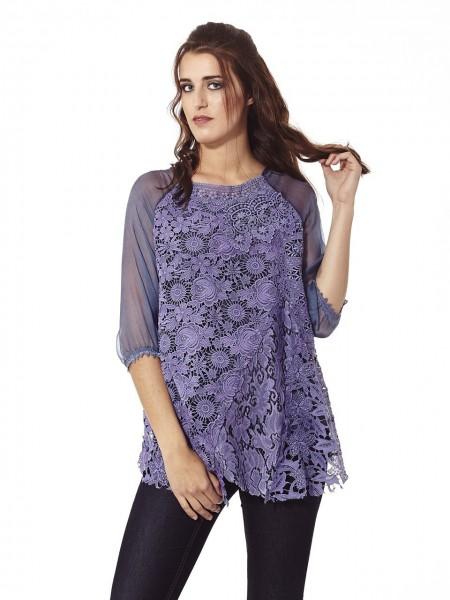 Blusa encaje flores violet