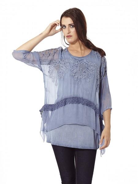 Blusa seda maya bordado azul