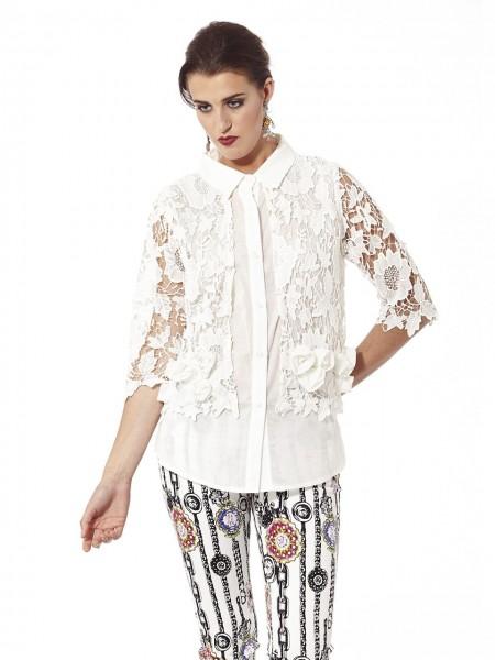 Camisa combinada encaje blanco