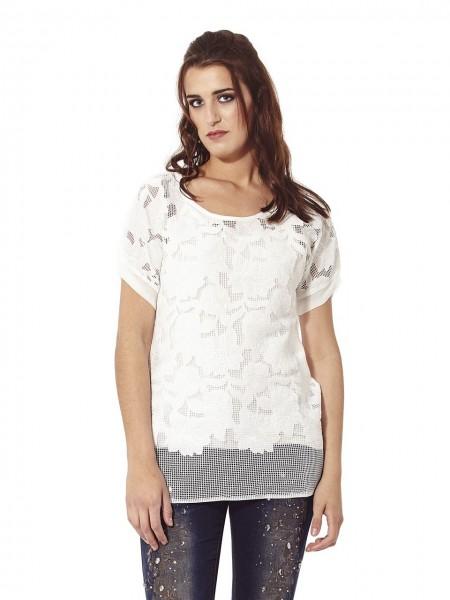 Blusa rejilla bordado flores blanco