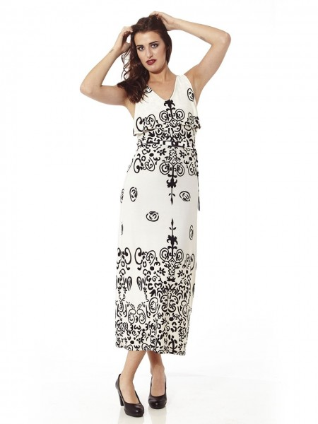 Vestido maxi estampado arabic blanco