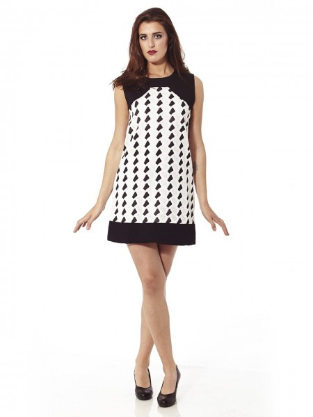 Vestido mini sixties geometric blanco-negro