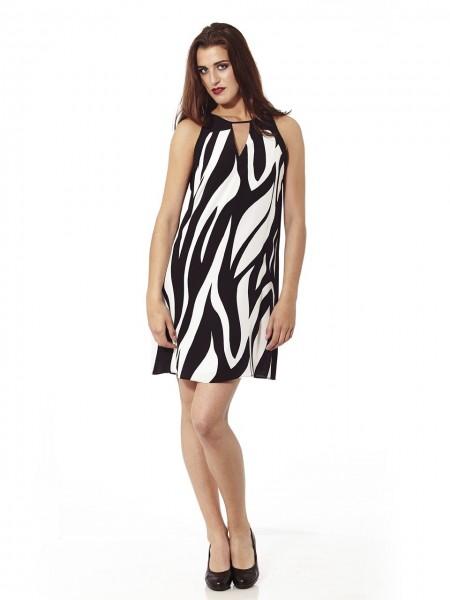 Vestido corto cebra blanco-negro