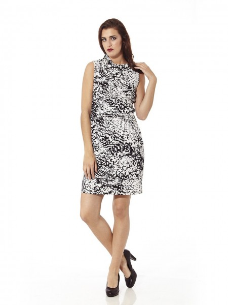 Vestido corto abstract blanco-negro