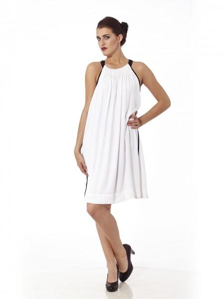 Vestido corto fruncido cuello halter blanco