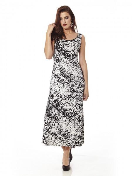 Vestido maxi estampado abstract blanco-negro