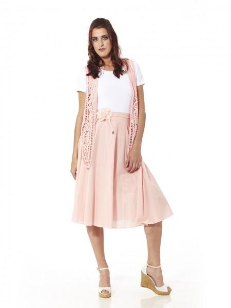 Falda midi plisada cordón flor rosa
