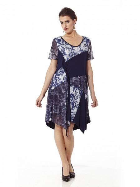 Vestido corto fruncido estampado floral azul