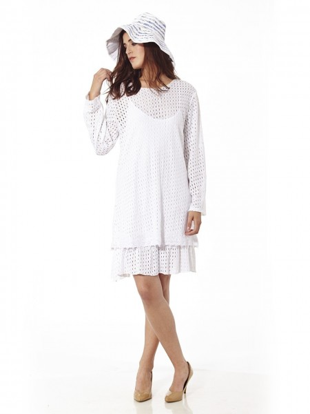 Vestido corto brocado beach blanco