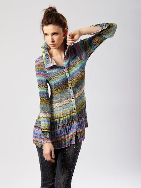 Camisa plisada multicolor