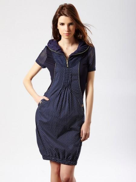 Vestido corto bolsillo lunares azul