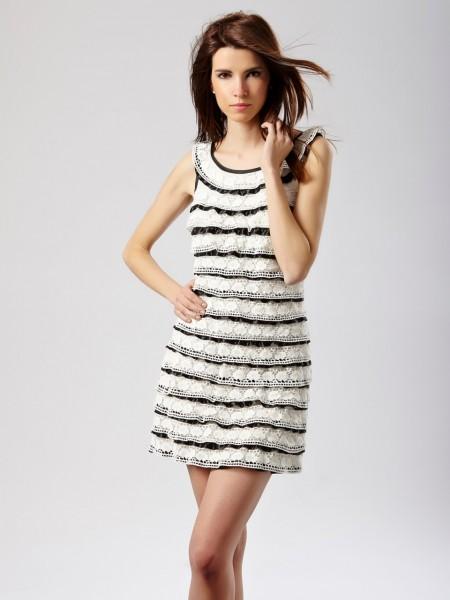 Vestido mini encaje horizontal blanco-negro