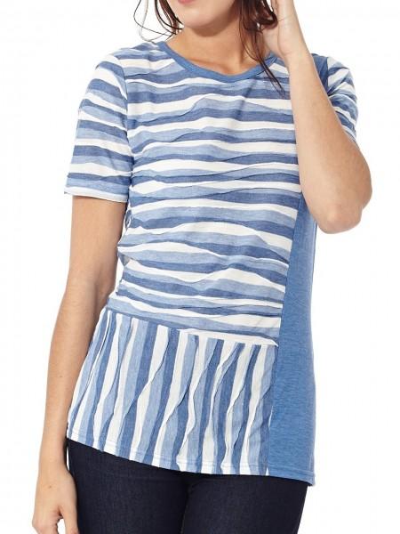 Camiseta rayas azul-gris