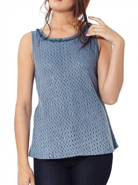 Camiseta de tirantes ribete azul