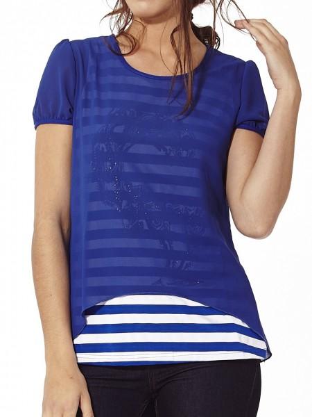 Camiseta doble rayas brillante azul