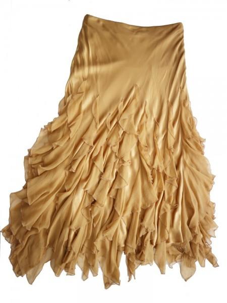 Falda volantes dorada