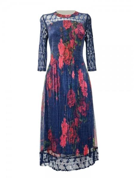 Vestido plisado azul marino estampado flores rojas con encaje