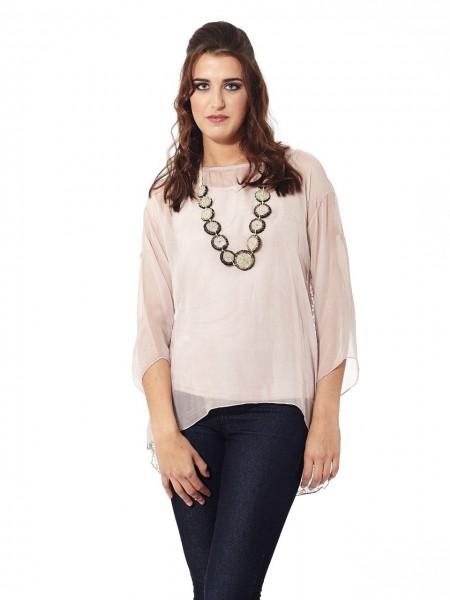 Blusa seda espalda encaje rosa quartz