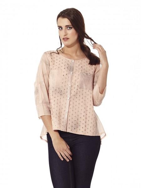 Camisa troquelada rosa quartz
