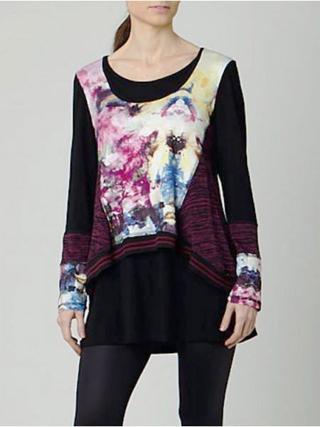CAMISETA LARGA MULTI LILA