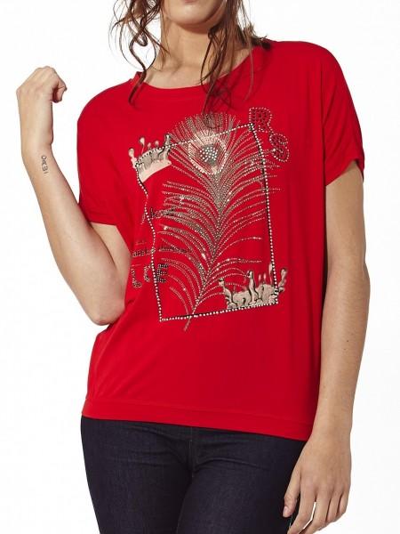 Camiseta peacock feather brillante roja