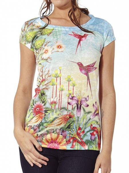 Camiseta colibris brillante