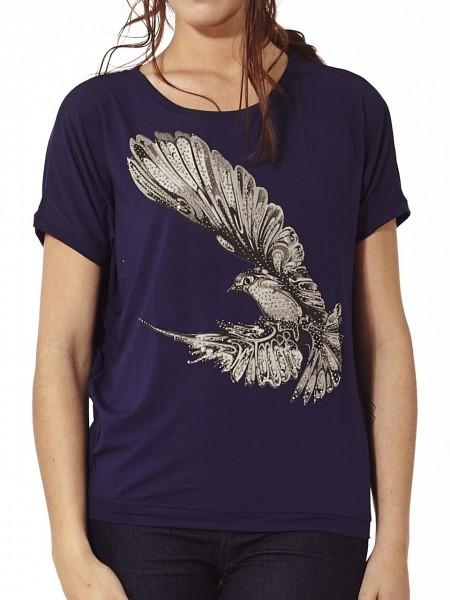 Camiseta bird brillante púrpura