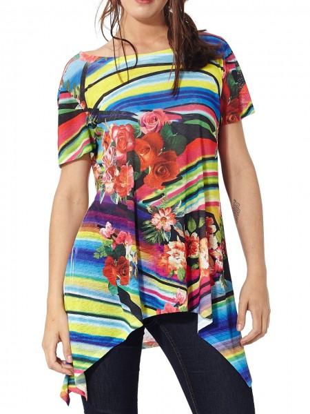 Camiseta larga flores multicolor