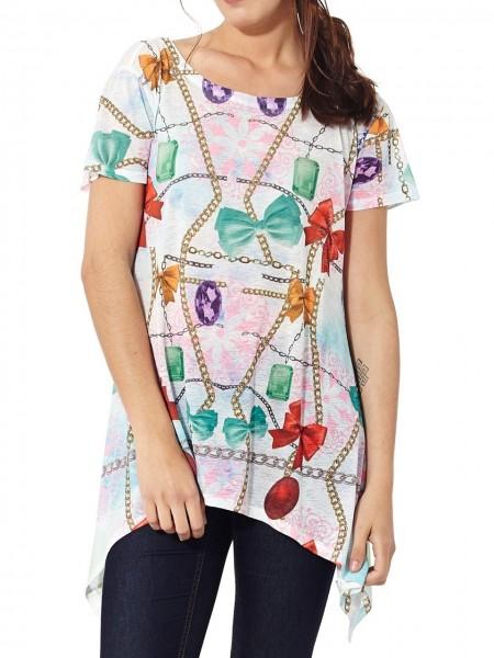 Camiseta larga gemas multicolor